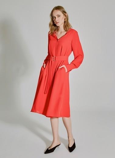 People By Fabrika Bağlamalı Midi Elbise Kırmızı